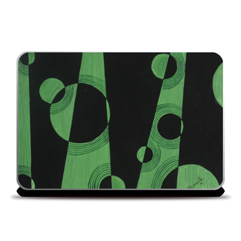 Abstract Green and Black Laptop Skins | Artist : Pranita Bajoria