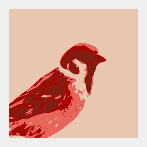 Square Art Prints, Abstract Sparrow Red Square Art | Artist : Keshava Shukla, - PosterGully