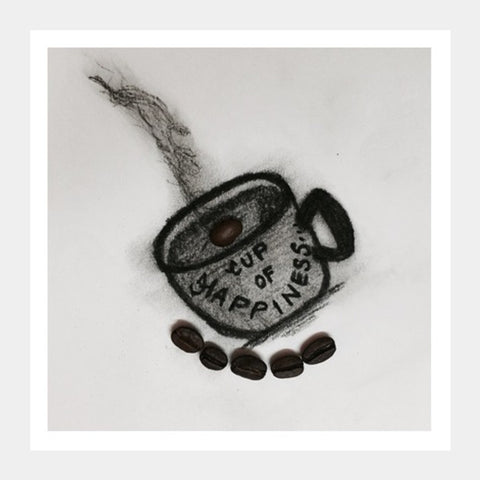 Charcoal Art | Coffee | Square Art Prints | Artist : Nandini Rawat