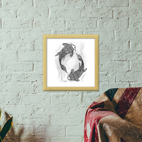 Swimming with the Koi Premium Square Italian Wooden Frames | Artist : DoodlesToodles