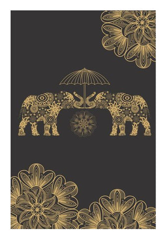 Traditional Gold Elephant Wall Art | Artist : Tiny Dots
