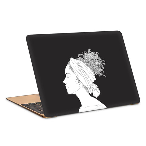 Calm Face Curly Hair Artwork Laptop Skin