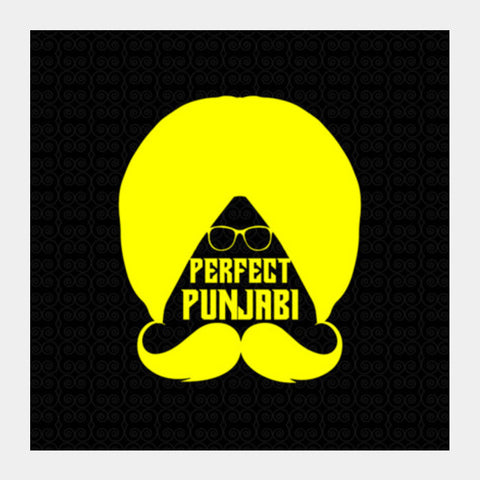 Punjabi Turban With Moustache Square Art Prints PosterGully Specials