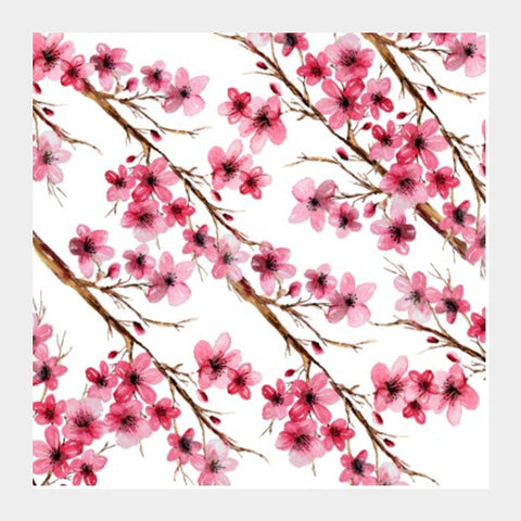 Square Art Prints, Spring Cherry Blossom Flowers Artwork Square Art Prints | Artist : Seema Hooda, - PosterGully