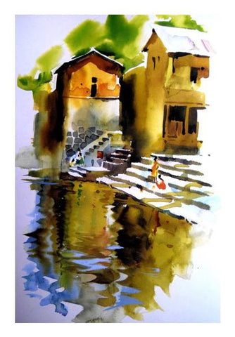 PosterGully Specials, Village River Painting Wall Art | Artist : Rahul Tanwar, - PosterGully