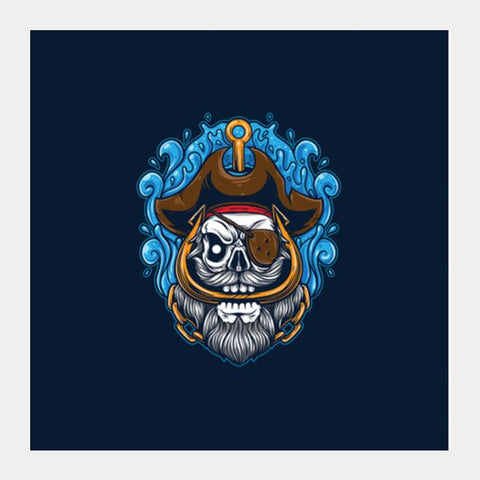 Skull Cartoon Pirate Square Art Prints PosterGully Specials