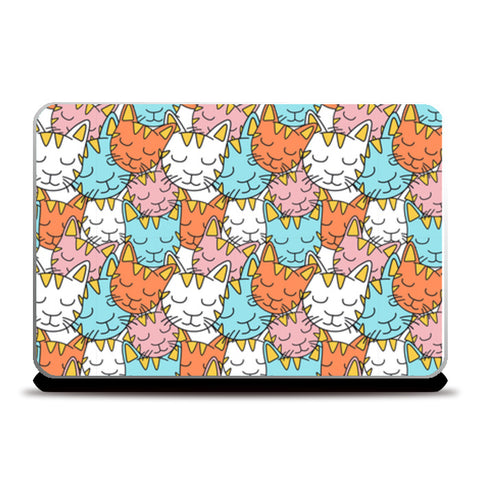 Colorful sleepy cat seamless pattern Laptop Skins | Artist : Creative DJ