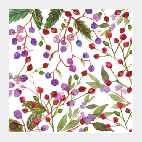 Cute Winter Berries Colorful Watercolor Pattern Illustration Square Art Prints PosterGully Specials