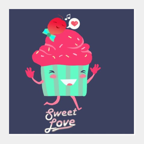 Square Art Prints, Sweet Love Cupcake Square Art | Artist: Shaily, - PosterGully
