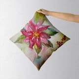 Poinsettia Cushion Cover l Artist: Seema Hooda