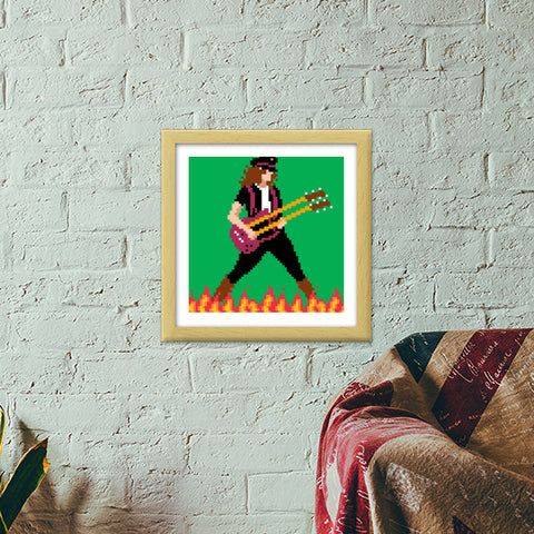 Led Zeppelin Jimmy Page Pixel Art Premium Square Italian Wooden Frames | Artist : 8bitbaba