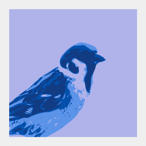 Square Art Prints, Abstract Sparrow blue Square Art | Artist : Keshava Shukla, - PosterGully