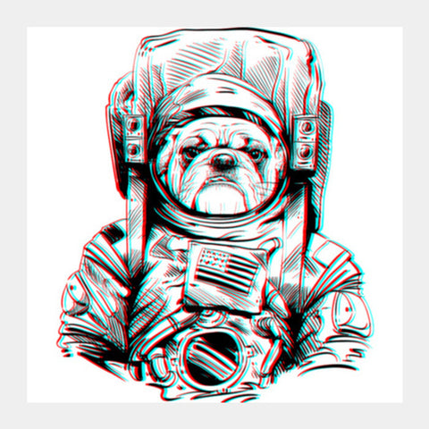 3D Space Dog Square Art Prints | Artist : Pulkit Taneja