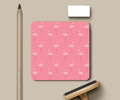Pink - Dots with Flamingo  Coasters | Artist : Amantrika Saraogi