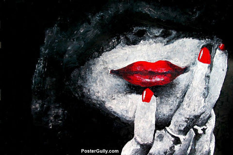 Wall Art, Red Lips Artwork | Artist: Sunanda Puneet, - PosterGully - 1