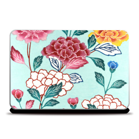 Bingata Panel with Tree Peonies by Mrs. Teruyo Shinohara and her pupils | Vintage Painting Laptop Skins | Artist : Aditya Gupta