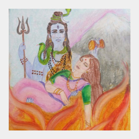 Square Art Prints, Shiva and Sati Square Art | artist:Lalitavv, - PosterGully