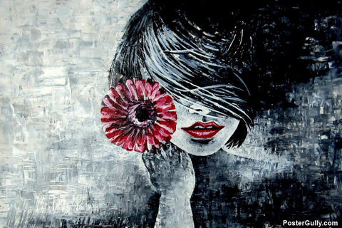 Wall Art, Red Lips Acrylic Artwork | Artist: Sunanda Puneet, - PosterGully - 1