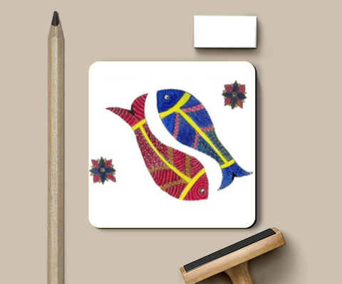 Coasters, Gond Art Fish coasters I Gayatri Iyer, - PosterGully