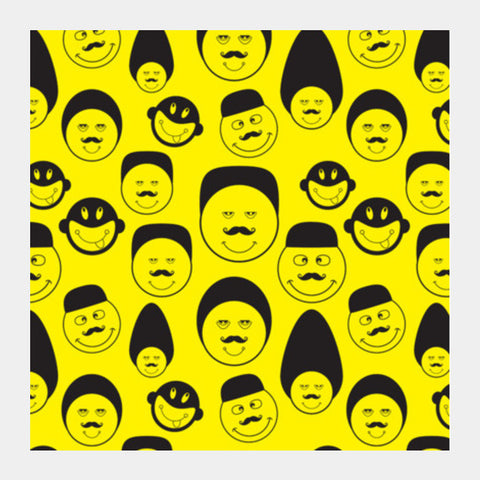 Funny Faces Vector On Yellow Square Art Prints PosterGully Specials