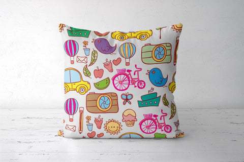 Colorful Doodles Cushion Cover | Artist: Pratyusha Subramaniam