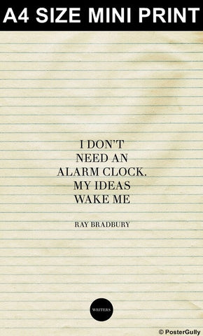 Mini Prints, Alarm Clock Quote-Ray Bradbury #writers | Mini Print, - PosterGully