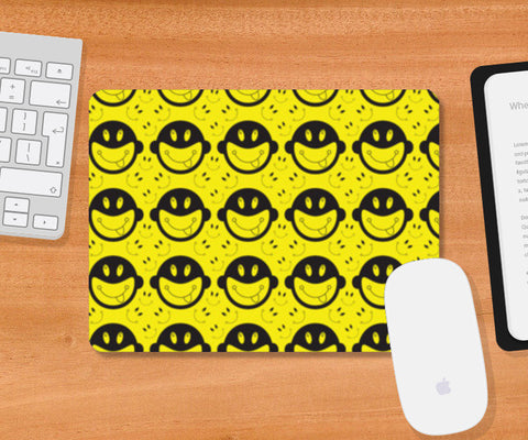 Monkey tongue out on black and yellow Mousepad | Artist : Designerchennai