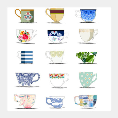 Square Art Prints, VINTAGE CUPS Square Art Prints | Artist : DISHA BHANOT, - PosterGully