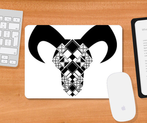 Capricorn symbol, Bull, Geometrical shapes, Black and white Mousepad Design Mousepad | Artist : Noella Dias