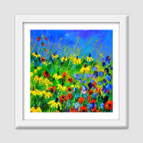 Poppies and rudbeckias Premium Square Italian Wooden Frames | Artist : pol ledent