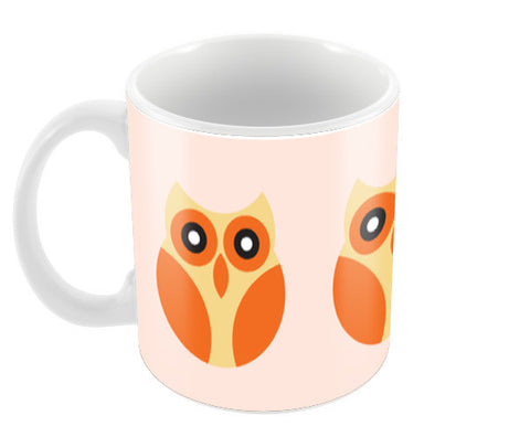 Orange cartoon big eyes Owl Coffee Mugs | Artist : Designerchennai