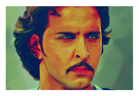 Hrithik Roshan as Akbar Wall Art  | Artist : Delusion