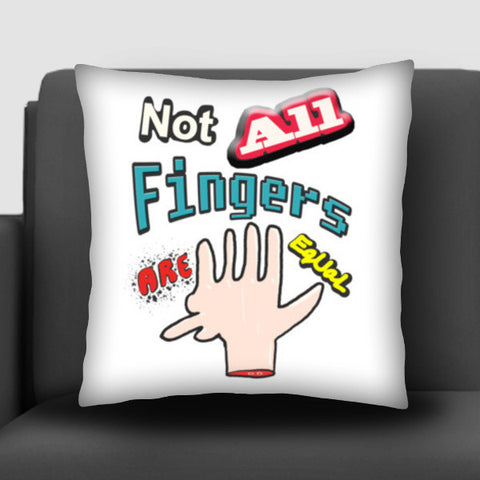 Not All Fingers Are Equal (White Back) Cushion Covers | Artist : Nitin Kapoor