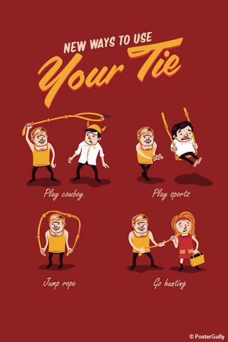 Wall Art, New Ways To Tie Your Tie -Maroon | By Captain Kyso, - PosterGully - 1