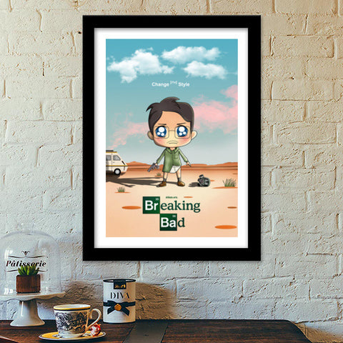 Premium Italian Wooden Frames, Breaking Bad Super Illustrations Premium Italian Wooden Frames | Artist : Toshib Bagde, - PosterGully - 1