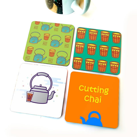 Cutting Chai | Set of Four Coasters