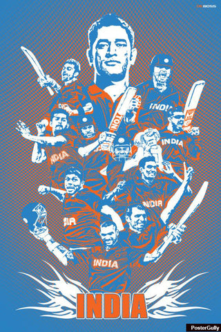 Wall Art, Team India Artwork | Artist: DK Boss, - PosterGully - 1