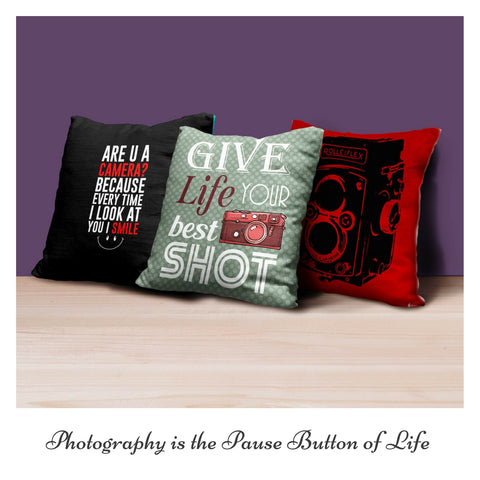Set of 3 Camera Love Cushion Covers