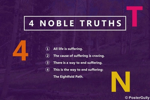 Wall Art, 4 Noble Truths | Buddha, - PosterGully