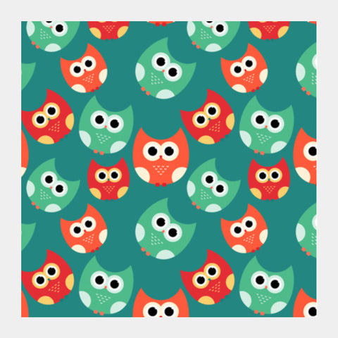 Owl illustrations pattern on green background Square Art Prints | Artist : Designerchennai