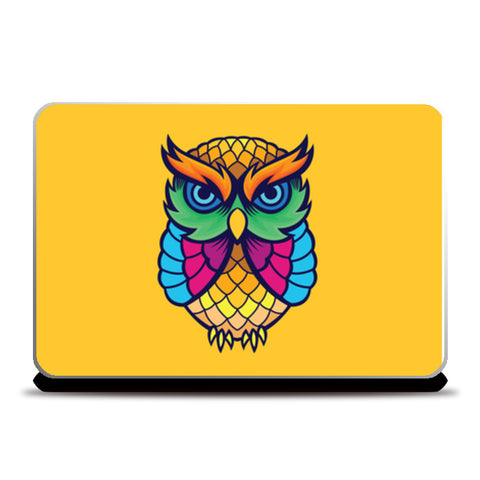 colorful Owl Laptop Skins | Artist : Inderpreet Singh