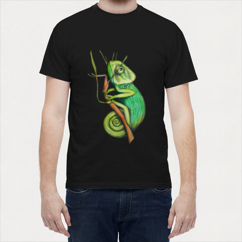 Men T Shirts, green chameleon Men T Shirts | Artist : federico cortese, - PosterGully - 1