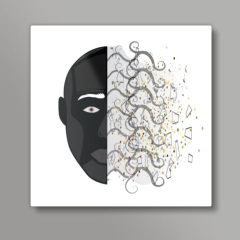 abstract face square print Metal Prints | Artist : vazir singh