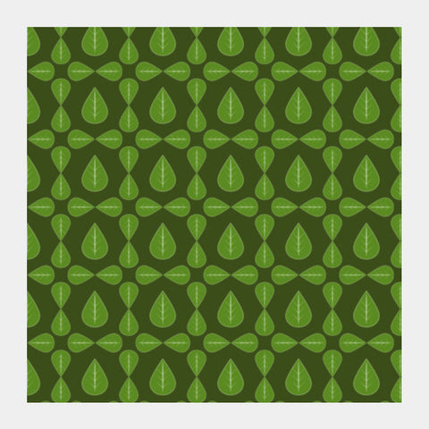 Seamless pattern with leaves on green background Square Art Prints | Artist : Designerchennai
