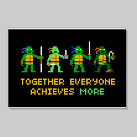 Pixelvana  Together everyone achieves more pixel motivation poster Stick Ons | Artist : 8bitbaba