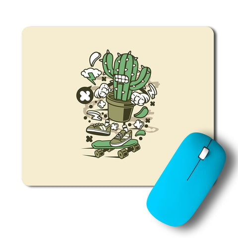 Cactus Angry Skater Artwork Mousepad