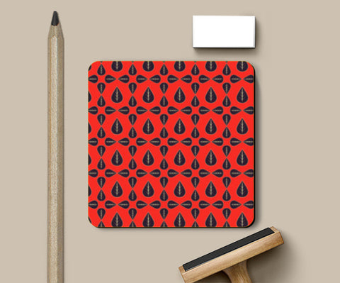 Seamless pattern with leaves on red background Coasters | Artist : Designerchennai