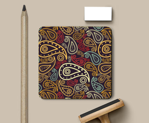 Abstract hand drawn floral illustration on multicolors Coasters | Artist : Designerchennai