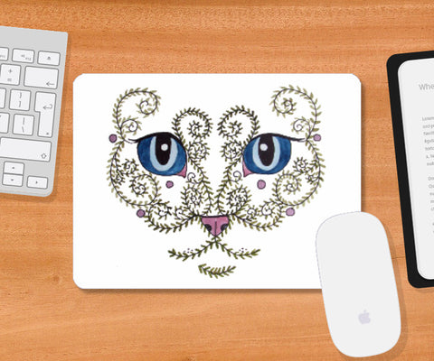 Mousepad, Big Eyes Cat Face Design Mousepad I Artist: Seema Hooda, - PosterGully