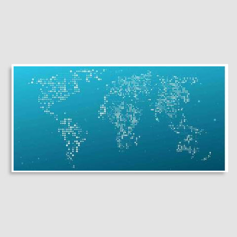 Blue & White World Map Door Poster | Artist : Inderpreet Singh